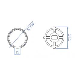 adaptador motor diametro 45mm a tubo de cortina Ø55mm