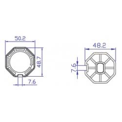 Adaptador de motor Ø35 a tubo octogonal 50mm