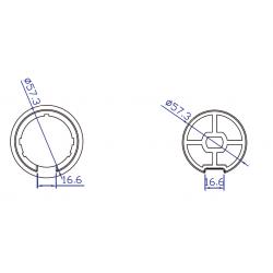 Adaptador de motor Ø45 a tubo cortina Ø60mm