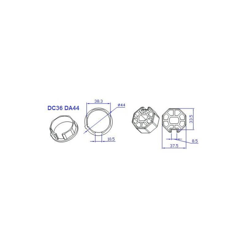adaptador motor diametro 35mm a tubo octogonal de 40mm