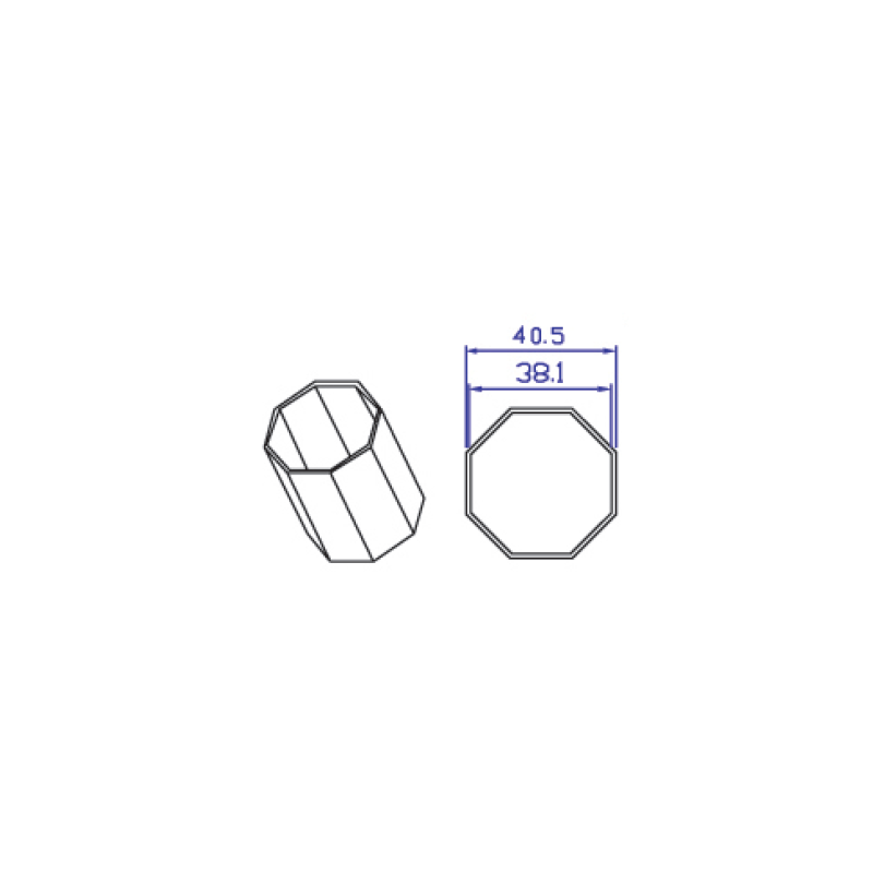 Tubo octogonal de 40mm para motores de persiana